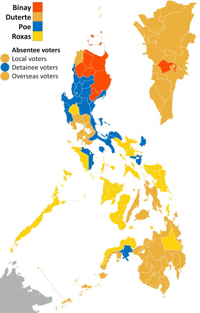 mappa schematica delle elezioni presidenziali del 2016 nelle Filippine